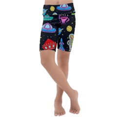Seamless Pattern With Space Objects Ufo Rockets Aliens Hand Drawn Elements Space Kids  Lightweight Velour Cropped Yoga Leggings
