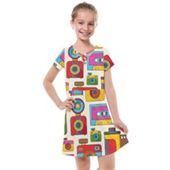 Retro Cameras Audio Cassettes Hand Drawn Pop Art Style Seamless Pattern Kids  Cross Web Dress