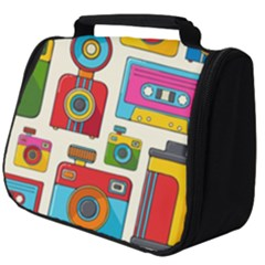 Retro Cameras Audio Cassettes Hand Drawn Pop Art Style Seamless Pattern Full Print Travel Pouch (big)