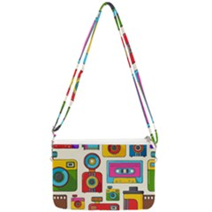 Retro Cameras Audio Cassettes Hand Drawn Pop Art Style Seamless Pattern Double Gusset Crossbody Bag