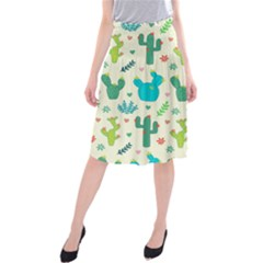 Cactus Succulents Floral Seamless Pattern Midi Beach Skirt by Vaneshart