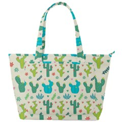 Cactus Succulents Floral Seamless Pattern Back Pocket Shoulder Bag