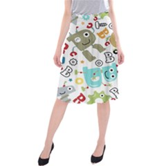 Seamless Pattern Vector With Funny Robots Cartoon Midi Beach Skirt by Vaneshart