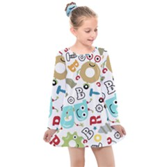 Seamless Pattern Vector With Funny Robots Cartoon Kids  Long Sleeve Dress
