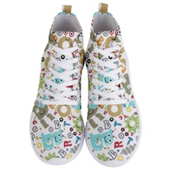 Seamless Pattern Vector With Funny Robots Cartoon Men s Lightweight High Top Sneakers
