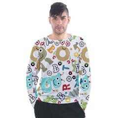 Seamless Pattern Vector With Funny Robots Cartoon Men s Long Sleeve Raglan Tee