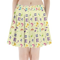 Seamless Pattern Musical Note Doodle Symbol Pleated Mini Skirt