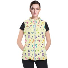 Seamless Pattern Musical Note Doodle Symbol Women s Puffer Vest