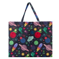 Cosmos Ufo Concept Seamless Pattern Zipper Large Tote Bag