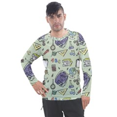 Hand Drawn Pattern School Men s Pique Long Sleeve Tee