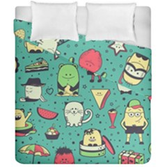 Seamless Pattern With Funny Monsters Cartoon Hand Drawn Characters Unusual Creatures Duvet Cover Double Side (california King Size) by Vaneshart