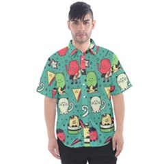Seamless Pattern With Funny Monsters Cartoon Hand Drawn Characters Unusual Creatures Men s Short Sleeve Shirt