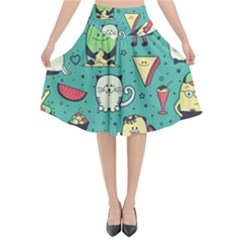 Seamless Pattern With Funny Monsters Cartoon Hand Drawn Characters Unusual Creatures Flared Midi Skirt by Vaneshart