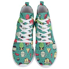 Seamless Pattern With Funny Monsters Cartoon Hand Drawn Characters Unusual Creatures Men s Lightweight High Top Sneakers