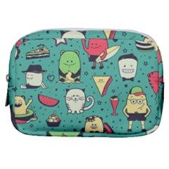 Seamless Pattern With Funny Monsters Cartoon Hand Drawn Characters Unusual Creatures Make Up Pouch (small) by Vaneshart