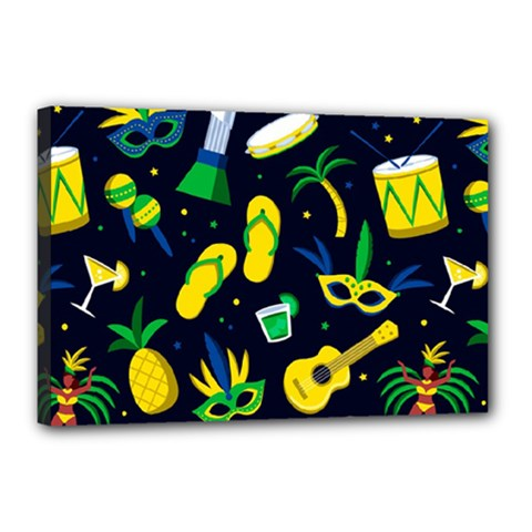 Seamless Brazilian Carnival Pattern With Musical Instruments Canvas 18  X 12  (stretched)