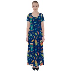 Brazil Musical Instruments Seamless Carnival Pattern High Waist Short Sleeve Maxi Dress