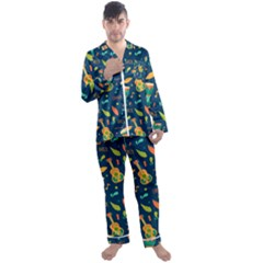 Brazil Musical Instruments Seamless Carnival Pattern Men s Long Sleeve Satin Pyjamas Set
