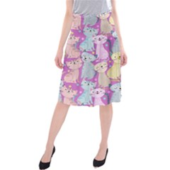 Colorful Cute Cat Seamless Pattern Purple Background Midi Beach Skirt by Vaneshart