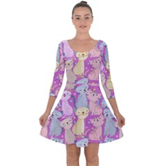 Colorful Cute Cat Seamless Pattern Purple Background Quarter Sleeve Skater Dress by Vaneshart