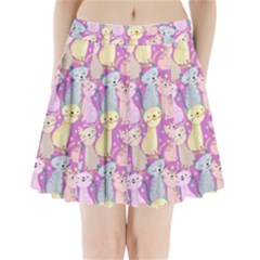 Colorful Cute Cat Seamless Pattern Purple Background Pleated Mini Skirt
