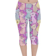 Colorful Cute Cat Seamless Pattern Purple Background Velvet Capri Leggings  by Vaneshart