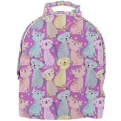 Colorful Cute Cat Seamless Pattern Purple Background Mini Full Print Backpack