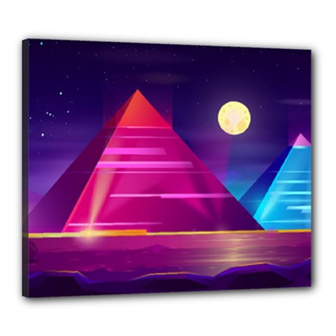 Egyptian Pyramids Night Landscape Cartoon Canvas 24  X 20  (stretched)