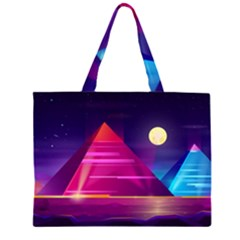 Egyptian Pyramids Night Landscape Cartoon Zipper Large Tote Bag