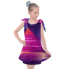 Egyptian Pyramids Night Landscape Cartoon Kids  Tie Up Tunic Dress by Vaneshart