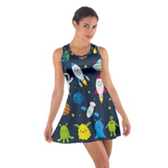Big Set Cute Astronauts Space Planets Stars Aliens Rockets Ufo Constellations Satellite Moon Rover V Cotton Racerback Dress