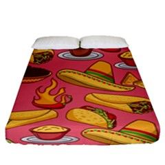 Seamless Pattern Mexican Food Hat Traditional Fitted Sheet (queen Size)