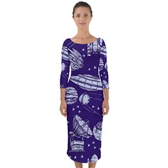 Space Sketch Seamless Pattern Quarter Sleeve Midi Bodycon Dress