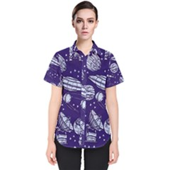 Space Sketch Seamless Pattern Women s Short Sleeve Shirt
