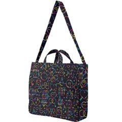 Seamless Pattern With Love Symbols Square Shoulder Tote Bag