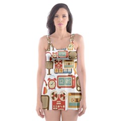 Vintage Gadget Seamless Pattern Skater Dress Swimsuit by Vaneshart