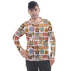 Vintage Gadget Seamless Pattern Men s Pique Long Sleeve Tee