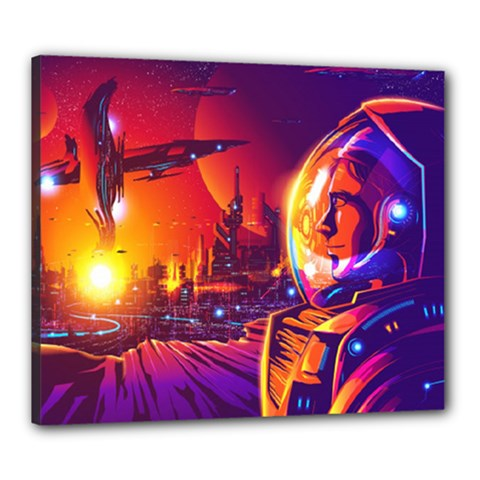 Far Future Human Colonization Canvas 24  X 20  (stretched)