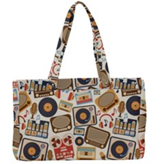 Music Retro Seamless Pattern Canvas Work Bag by Vaneshart