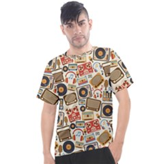 Music Retro Seamless Pattern Men s Sport Top