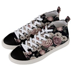Elegant Seamless Pattern Blush Toned Rustic Flowers Men s Mid-top Canvas Sneakers by Vaneshart