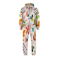 Colorful Ditsy Floral Print Background Hooded Jumpsuit (kids)