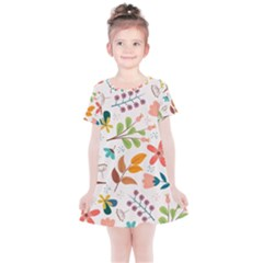 Colorful Ditsy Floral Print Background Kids  Simple Cotton Dress