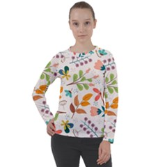 Colorful Ditsy Floral Print Background Women s Long Sleeve Raglan Tee