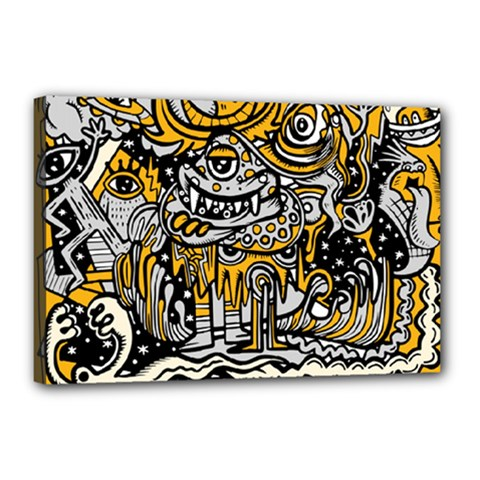 Crazy Abstract Doodle Social Doodle Drawing Style Canvas 18  X 12  (stretched)