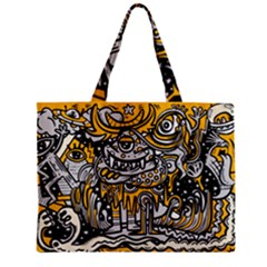Crazy Abstract Doodle Social Doodle Drawing Style Zipper Mini Tote Bag