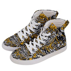 Crazy Abstract Doodle Social Doodle Drawing Style Women s Hi-top Skate Sneakers by Vaneshart