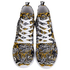 Crazy Abstract Doodle Social Doodle Drawing Style Men s Lightweight High Top Sneakers