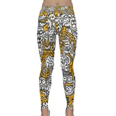 Hand Drawn Vector Illustration Doodle Funny World Classic Yoga Leggings