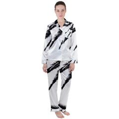 Black And White Tropical Moonscape Illustration Satin Long Sleeve Pyjamas Set by dflcprintsclothing